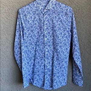 Express Men'a Blue floral Extra Slim Button Shirt